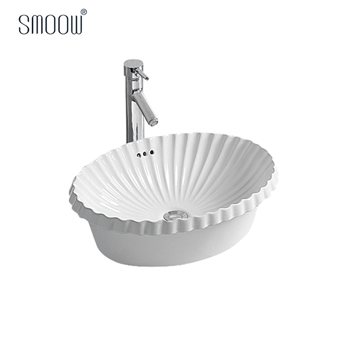 China factory custom model shell pattern oval bathroom wash hand art basin