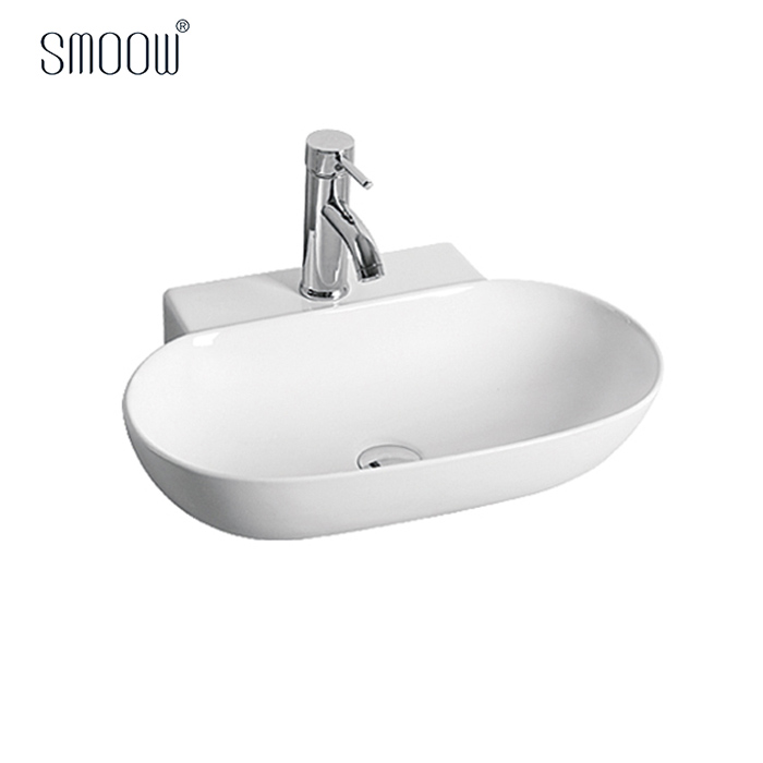 Wholesale price ceramic white color bathroom oval sink hand wash art basin