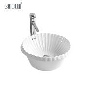 China custom made round shape shell pattern art wash basin in porcelain