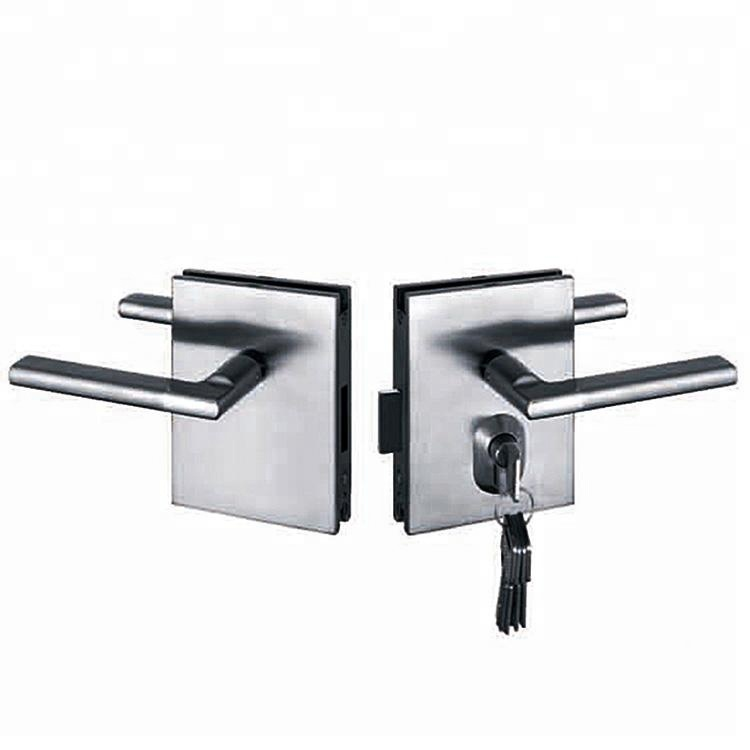 High quality stainless steel glass swing door locks with lever handles
