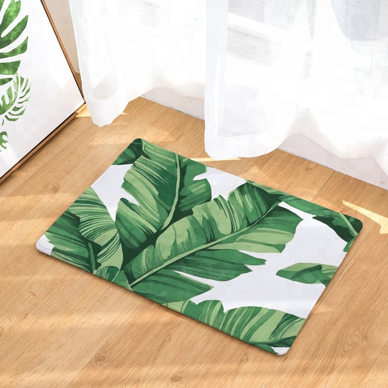 Cheap Price Durable Green Plant Eco-Friendly Absorbent Machine Made Washable PVC Backed Bath Carpet Rug Floor Mat