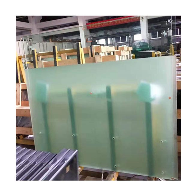 High pravicy excellent decorative frosted acid etched processed tempered satin etched glass