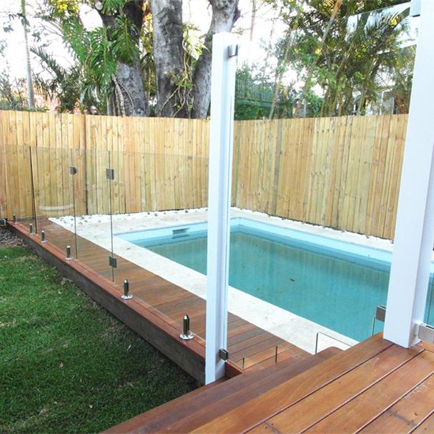 10mm Thick Frameless Polish Stainless Steel Tempered Aluminium Glass Balcony Railing
