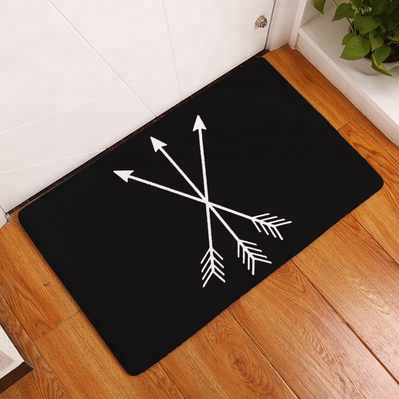 Multi Function Arrow Printed Portable Water Absorb Door Entrance Carpet Rug Bath Floor Mat for Living Room Bedroom