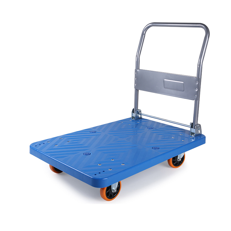 Four Wheels Plastic Shopping Foldable Hand Truck/Cart Platform Trolley for Warehouse