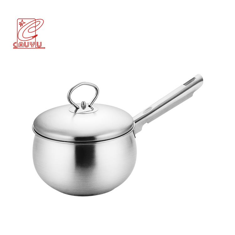 Belly shape stainless steel sauce pan cookware sauce cooking pot with steel lid