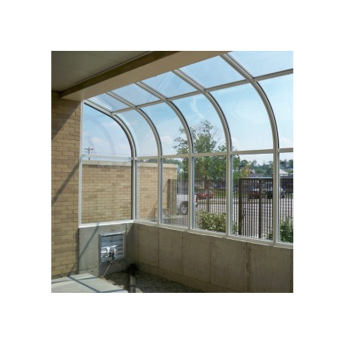 Cool in summer insulated curved greenhouse glass panels