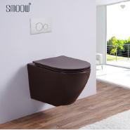 Design colored rimless washdown matt brown wall hung toilet bowl