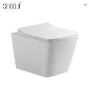Modern square washdown rimless P-trap wall mounted toilet for home bathroom