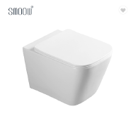 High quality white square ceramic rimless wall hung toilet bowl water closet for concealed cistern