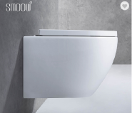Manufactures European modern round washdown rimless P-trap wall-hung toilet set for home hotel bathroom