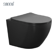 European wc rimless matt black color wall hung toilet with one-time glaze technology