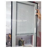 Hollow Vertical Glass Blinds Aluminium Casement Window With Shutter