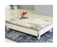 Glossy office coffee table artificial textured table top design