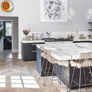 Fashion design durable quartz stone kitchen counter top marble shaded color