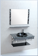 Hot Selling Good Quality Classic Design Bathroom Glass Basin Vanity Cabinet YKL-Glass basin vanity--YKL GB001