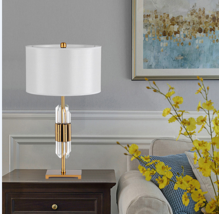 Brand New Quality Assured Latest Designs Combination of metal and crystal rod lamp body desk lamps YLCK041