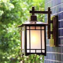 Factory Wholesale European Waterproof Black Metal Glass Outdoor Led Wall Lamp American Vintage Villa Antique Garden Wall Lights