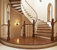 White general column solid wood spiral staircase railing