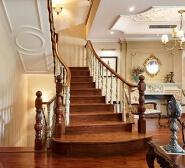 White general column wooden staircase railing