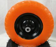 PU Foaming Tire material and square Tread pattern wheelbarrow pu foam wheel 16inch 4.00-8