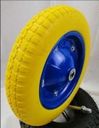 Ecofriendly Size 13inch 3.00-8 blue colour PU foam solid rubber wheel for trolley