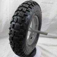 Qingdao factory 16 inch pneumatic wheel wheelbarrow wheel 20mm hole diameter with 26cm metal axle 4.00-8 for Saudi Arabia market