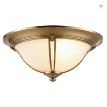 Modern Classic Antique Brass LED Frosted Glass Semi Circle Ceiling Light Fixture
