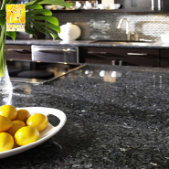 Pre-fabricated Granite Blue Pearl Island Benchtop in Kitchen