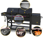 3+1 burner charcoal and gas BBQ GRILL