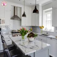Customized size polish white marble stone kitchen tops marble countertops