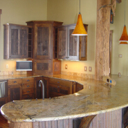 Bespoke Bullnose Edge Brazil Yellow Giallo Fiorito Granite Kitchen Countertop
