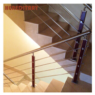 Stainless steel railing post and steel pipe stair handrail for indoor stair case