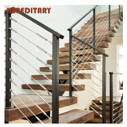 DIY wood stair side mount stainless steel cable railing