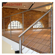 Staircase handrail malaysia stainless steel pipe fittings and tempered glass railing