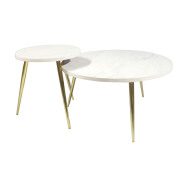 Hot Sale Factory OEM ODM Furniture Design Modern Marble Center Gold Metal Chassis Coffee Table Side Table Sets for Living Room
