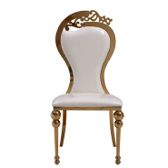 Wholesale industrial high back banquet white Chair Luxury Living Room Furniture Metal Leg PU Dining Chair for wedding banquet   16XHA-115