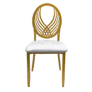 Modern design industrial white Chair Luxury Living Room Furniture Metal Leg PU olive back Dining Chair for wedding banquet  16XHA-120