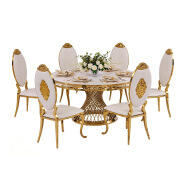 Chinese industrial high back cheaper white Chair Luxury Living Room Furniture Metal Leg PU Dining Chair for wedding banquet  16XHA-123