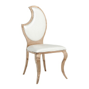 China industrial olive back banquet white Chair Luxury Living Room Furniture Metal Leg PU Dining Chair for wedding banquet