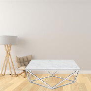 factory outlet luxury hollow out chrome plated marble top center polygon coffee table living room table