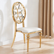 Modern industrial round back Banquet white Chair Luxury Living Room Furniture Metal Leg Velvet Dining Chair for wedding banquet