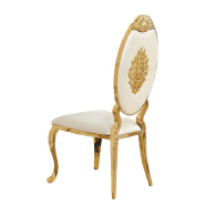China industrial banquet white Chair Luxury Living Room Furniture Metal Leg PU olive back Dining Chair for wedding banquet  16XHA-117