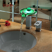 Fyeer 2015 Newest Double Hole Round Fountain Pool Waterfall Self-power Brass Led Basin Tap Faucet with Side Handle