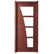 Factory Supply Elegant Top Quality Customizable MDF door- modern flush design,glass door, interior door (PVD-081)