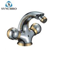 SKL-0756 Chrome plating bathroom desk mounted dual levers bidet faucet