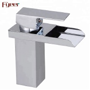 Fyeer Popular Single Handle Brass Bathroom Basin Water Tap Waterfall Faucet