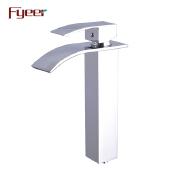 Fyeer Decktop Brass Vessel Faucet Bathroom Waterfall Basin Faucet