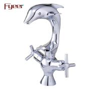 Fyeer Double Cross Handle Dolphin Brass Bathroom Washbasin Faucet