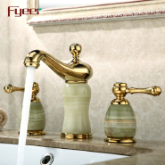 Fyeer New 3 Pcs Set Bathtub Filler Gold Plated Faucet with Jade